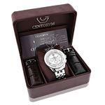 Centorum Real Diamond Watches: Mens Midsize Falcon 0.55ct Chronograph White MOP 4