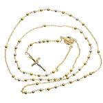 14K 2TONE Gold HOLLOW ROSARY Chain - 28 Inches Long 2.9MM Wide 2