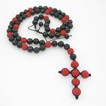 Mens beaded rosary chain crystal gemstone bracelet ball pave macrame rosary with extended cross 2