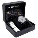 Luxurman Watches Black Diamond Watch 3ct Silver Case and a Black Leather Band 4