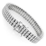 10K 3-Row Prong Set Natural Diamond Bracelet For-2