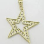 Mens 10k Yellow gold Outer star of david gold cz pendant GCHA35 4