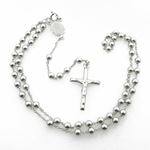 """Mens .925 Italian Sterling Silver white beaded rosary Length - 20 inches Width - 4mm (extender - 4."