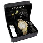 LUXURMAN Mens Diamond Watch Yellow Gold Tone 1Ct-4