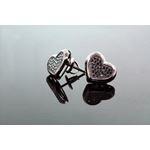.925 Sterling Silver Black Heart Black Onyx Crystal Micro Pave Unisex Mens Stud Earrings 10mm 2