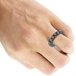 14K Black Gold Band Black Diamond Eternity Ring-4