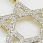 Mens 10k Yellow gold Star of david gold cz pendant GCHA33 2