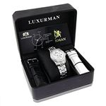 Tribeca Womens Real Diamond Bezel and Band Watch 3ct Platinum Plated by Luxurman 4