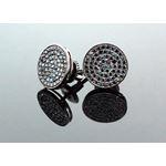 .925 Sterling Silver Black Circle Black Onyx Crystal Micro Pave Unisex Mens Stud Earrings 8mm 2