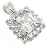 Ladies .925 Italian Sterling Silver fancy pendant with white stone Length - 20mm Width - 13mm 2