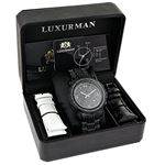 Fully Iced Out Oversized Genuine Black Diamond Mens Watch by Luxurman 4.25ct 4