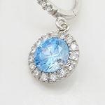 Womens Light blue cubic zirconia drop cz chandelier earring Silver15 2