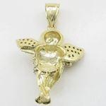 Mens 10k Yellow gold Yellow gold angel praying cz pendant LIGS9 4
