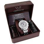 Centorum Mens Real Diamond Watch 0.55ct Midsize Chronograph White MOP Steel Band 4