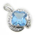 Ladies .925 Italian Sterling Silver fancy pendant with blue stone Length - 20mm Width - 14mm 2