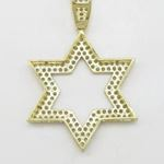 Mens 10k Yellow gold Outer star of david gold cz pendant GCHA34 4