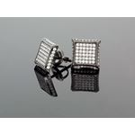 .925 Sterling Silver Black Square White Crystal Micro Pave Unisex Mens Stud Earrings 2