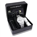 Real Mens Genuine Diamond Band Raptor Watch by LUXURMAN 1 Carat Mother of Pearl 4