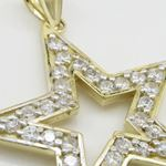 Mens 10k Yellow gold Outer star of david gold cz pendant GCHA35 2