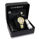 Luxurman Ladies Diamond Watch 0.3ct Yellow Gold Plated Interchangeable Straps 4