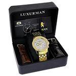 Yellow Gold Tone Watches: Luxurman Mens Genuine Diamond Watch 0.25ct Chronograph 4