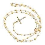 14K 3 TONE Gold HOLLOW ROSARY Chain - 28 Inches Long 4.05MM Wide 2