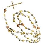 10K 3 TONE Gold HOLLOW ROSARY Chain - 28 Inches Long 6MM Wide 2