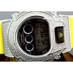 Ice Plus Mens Diamond Shock Style Watch White Case Yellow Band 2