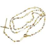 10K 3 TONE Gold HOLLOW ROSARY Chain - 28 Inches Long 4.1MM Wide 2