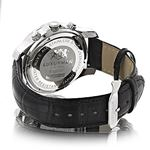 Mens Diamond Watch 0.25ct by Luxurman Black Genuine Leather Strap Yellow Face 2