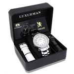 Mens Diamond Watch 0.12 ct Iced Out Luxurman Paved in White Sparkling Stones 4