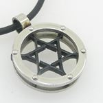 Unisex genuine leather braided crystal necklace pendant black jewish star pendant leather necklace 2