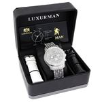 Iced Out Watch Chronograph Subdials Real Luxurman Mens Genuine Diamonds 1.25ct 4