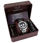 Centorum Real Diamond Watch Mens White MOP Chronograph Falcon 0.55ct Silver Tone 4
