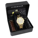 Luxurman Liberty Mens Real Diamond Watch 0.5ct Yellow Gold Plated Swiss Movement 4