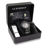 Trendy Mens Genuine Black Diamond Watch by Luxurman 2.25ct Extra Leather Bands 4