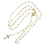 14K YELLOW Gold HOLLOW ROSARY Chain - 28 Inches Long 2.4MM Wide 2