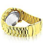 Luxurman Watch Mens Oversized Real Diamond Watch 0.75ct Yellow Gold Chronograph 2