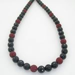 Mens Beaded Rosary Chain Crystal Gemstone Bracelet Ball Pave Macrame Necklace Red and Black Rosary 2