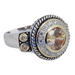 """Ladies .925 Italian Sterling Silver Spring citrine synthetic gemstone ring SAR24 6"