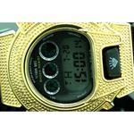 Ice Plus Mens Diamond Shock Style Watch Yellow Case Black Band 2