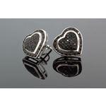 .925 Sterling Silver Black Heart Black Onyx Crystal Micro Pave Unisex Mens Stud Earrings 13mm 2