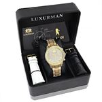 LUXURMAN ICED OUT MENS DIAMOND WATCH 3CT YELLOW GOLD PLATED LIBERTY 4