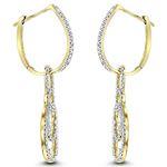 14K Ladies Natural 0.5 Ctw Diamond Drop Earrings-2