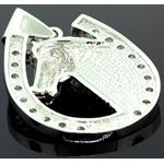.925 Sterling Silver Men Crystal Stone Horse Head Shoe 2