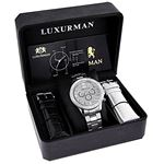 Liberty Mens Real Diamond Watch 2ct by Luxurman White Gold Plated Steel Band 4