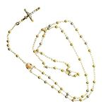 10K 3 TONE Gold HOLLOW ROSARY Chain - 28 59544 2