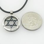Unisex genuine leather braided crystal necklace pendant black jewish star pendant leather necklace 4