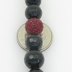 Mens Beaded Rosary Chain Crystal Gemstone Bracelet Ball Pave Macrame Necklace Red and Black Rosary 4