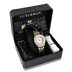 Yellow Gold Plated Ladies Real Diamond Pink Watch 0.25ct Luxurman Steel Band 4